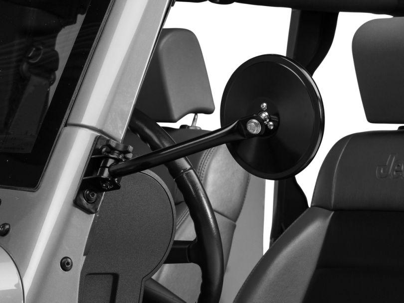 Rugged Ridge Quick Release Round Mirrors; Black (97-18 Jeep Wrangler TJ & JK)