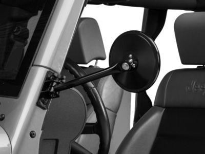 Rugged Ridge Quick Release Round Mirror - Black (97-18 Jeep Wrangler TJ & JK)