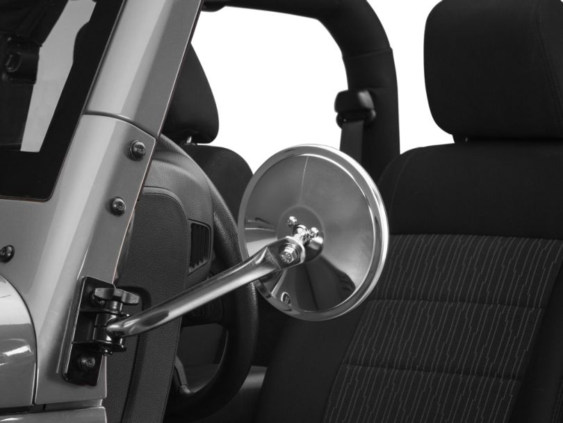 Rugged Ridge Quick Release Round Mirror - Stainless Steel (97-18 Jeep Wrangler TJ & JK)