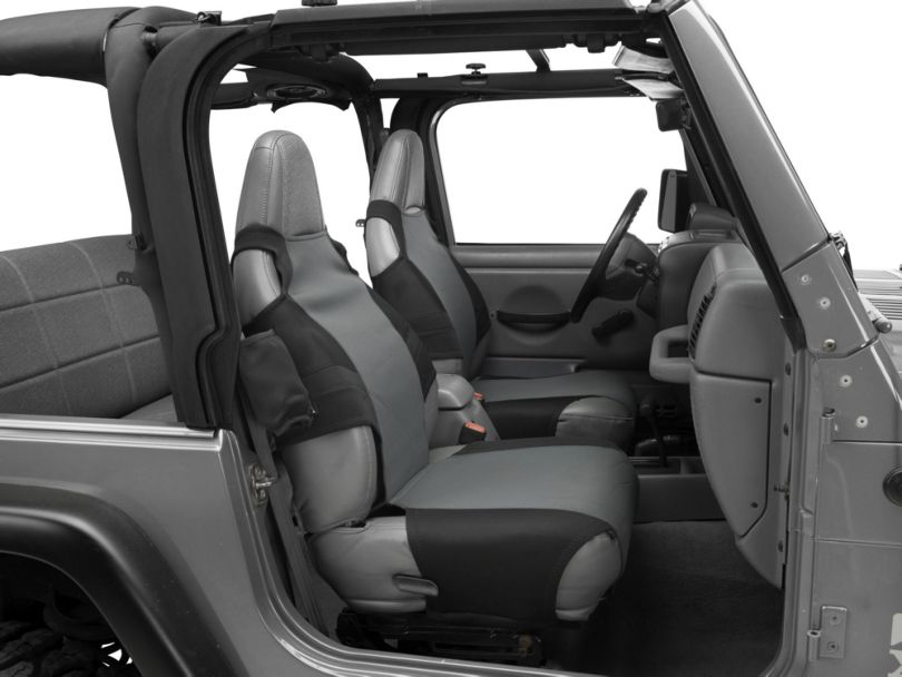 Rugged Ridge Fabric Front Seat Protectors; Black/Gray (87-06 Jeep Wrangler YJ & TJ)