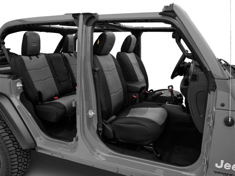 Smittybilt GEN2 Neoprene Front and Rear Seat Covers; Black/Charcoal (18-20 Jeep Wrangler JL 4 Door)