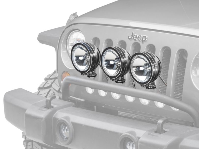 Rugged Ridge 6-Inch Halogen Fog Lights; Stainless Steel; Set of Three