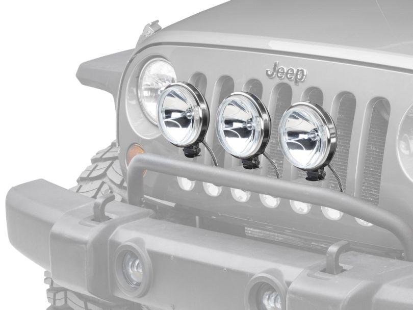 Rugged Ridge 6 in. Slim Halogen Fog Lights - Stainless Steel - Set of Three