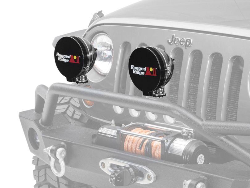 Rugged Ridge 6 in. Off-Road Light Cover - Black (87-19 Jeep Wrangler YJ, TJ, JK & JL)