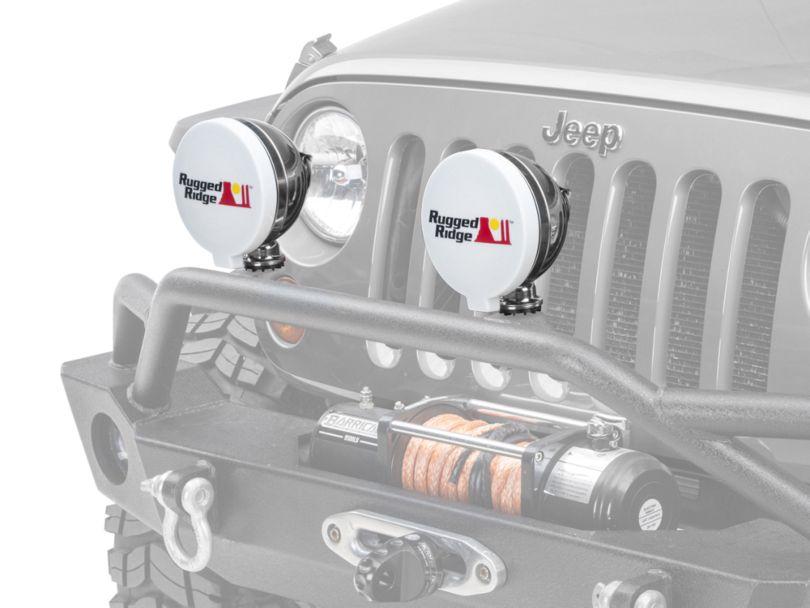 Rugged Ridge 6 in. HID Off-Road Light Cover - White (87-19 Jeep Wrangler YJ, TJ, JK & JL)