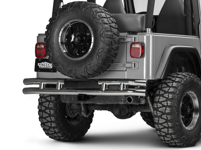 Rugged Ridge Tubular Rear Bumper with Hitch; Stainless Steel (87-06 Jeep Wrangler YJ & TJ)