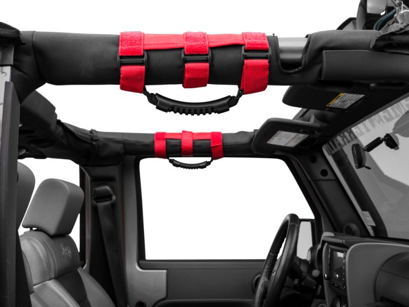 Rugged Ridge Ultimate Grab Bar Handle for 2-3 in. Roll Bars - Red (87-20 Jeep Wrangler YJ, TJ, JK & JL)