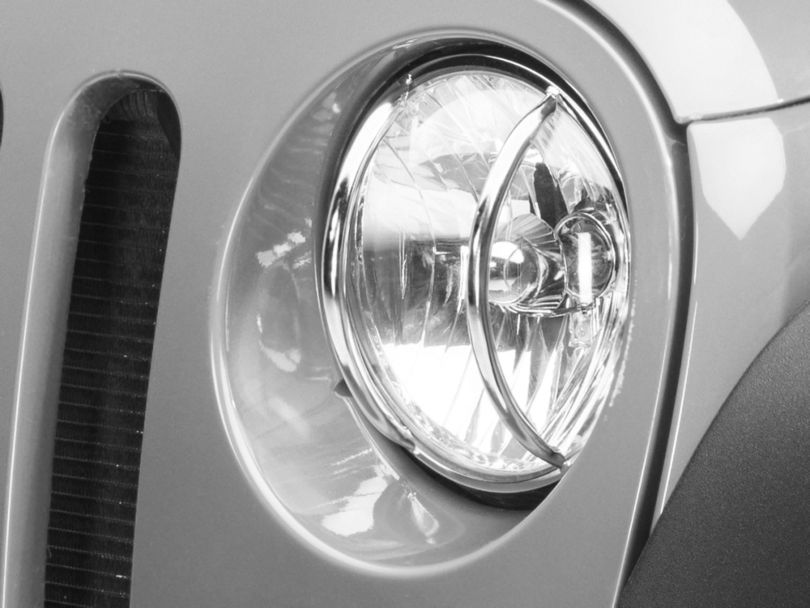 Rugged Ridge Euro Headlight Light Guards - Stainless Steel (07-18 Jeep Wrangler JK)