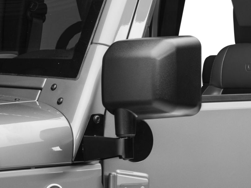 Rugged Ridge Mirror Relocation Brackets; Black (07-18 Jeep Wrangler JK)