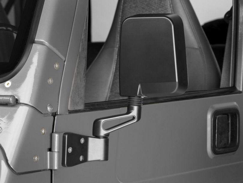Rugged Ridge Door Mirror; Driver Side; Black (87-02 Jeep Wrangler YJ & TJ)