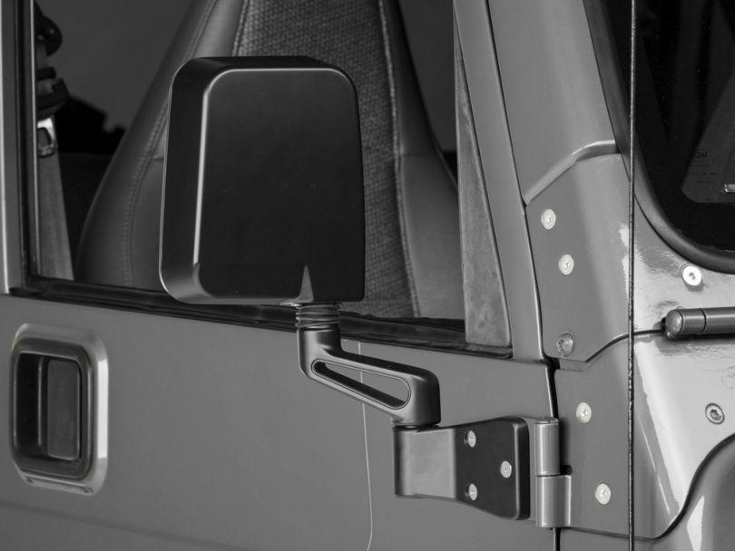 Rugged Ridge Door Mirror; Passenger Side; Black (87-02 Jeep Wrangler YJ & TJ)