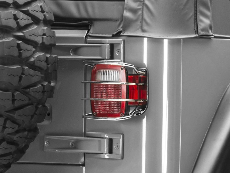 Rugged Ridge Euro Tail Light Guards; Stainless Steel (87-06 Jeep Wrangler YJ & TJ)