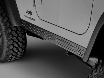 Rugged Ridge Plastic Rocker Side Panels - Black Diamond Plate (97-06 Jeep Wrangler TJ, Excluding Unlimited)