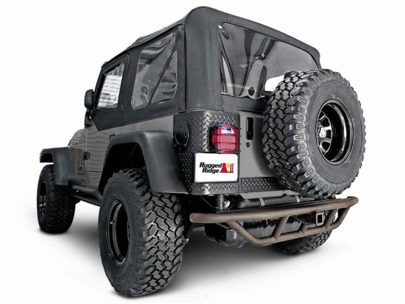 Rugged Ridge RRC Rear Bumper w/o Tire Carrier - Titanium (87-06 Jeep Wrangler YJ & TJ)