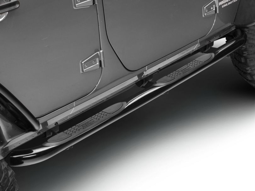 Rugged Ridge Side Step Bars - Gloss Black (07-18 Jeep Wrangler JK 4 Door)