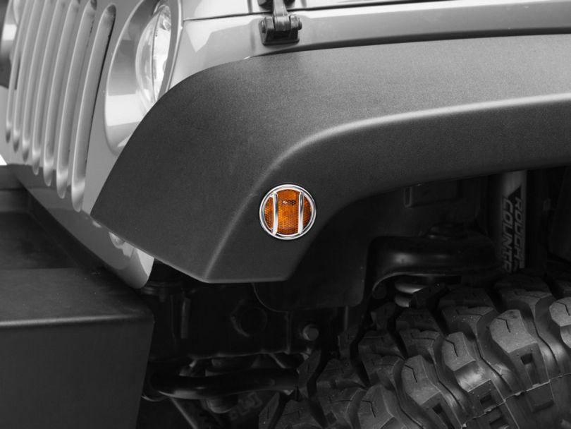 Rugged Ridge Side Marker Light Guards - Stainless Steel (07-18 Jeep Wrangler JK)