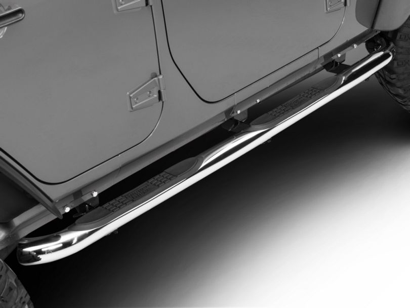 Rugged Ridge 3-Inch Round Nerf Side Step Bars - Stainless Steel (07-18 Jeep Wrangler JK 4 Door)