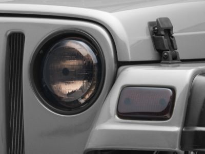 Rugged Ridge Plastic Molded Headlights & Park Lamp Covers - Smoke (97-06 Jeep Wrangler TJ)