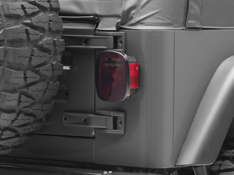 Rugged Ridge Plastic Molded Taillight Covers - Smoke (87-06 Jeep Wrangler YJ & TJ)