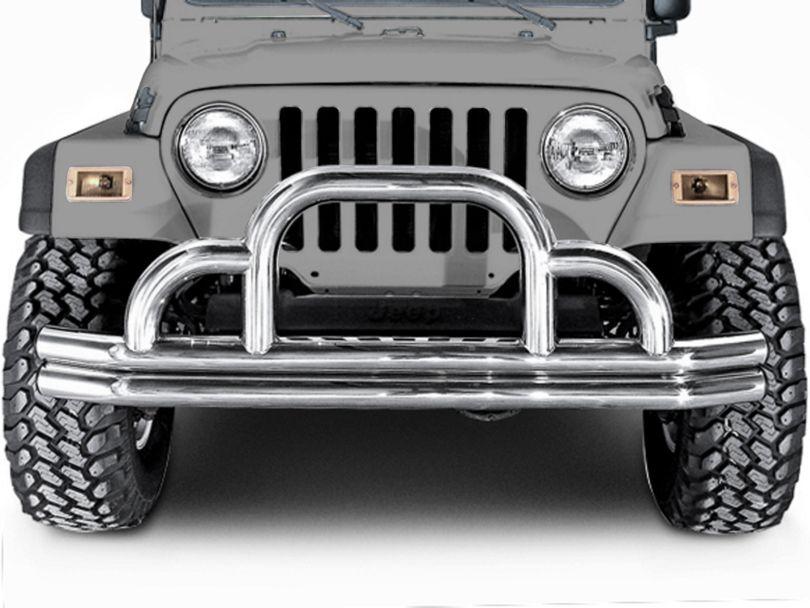 Rugged Ridge Tubular Front Bumper w/ Defender Hoop - Stainless Steel (87-06 Jeep Wrangler YJ & TJ)