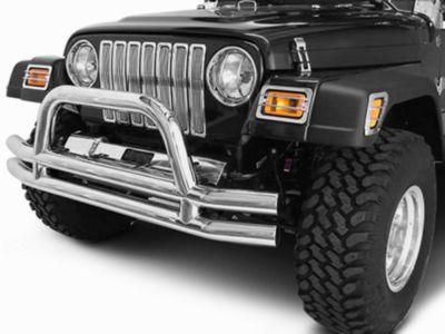 Rugged Ridge Tubular Front Bumper w/ Hoop - Stainless Steel (87-06 Jeep Wrangler YJ & TJ)