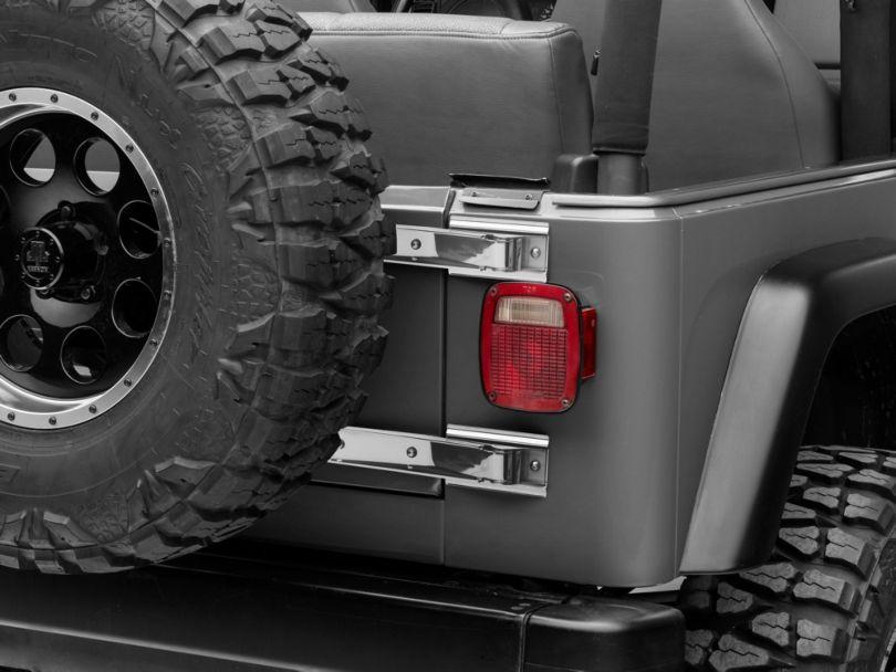 Rugged Ridge Tailgate Hinges; Stainless Steel (97-06 Jeep Wrangler TJ)