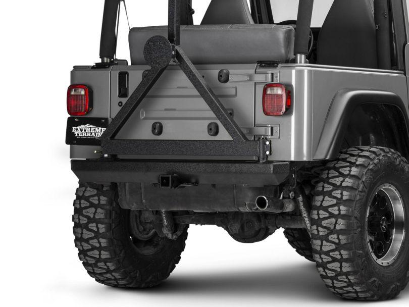 Rugged Ridge Classic Rock Crawler Rear Bumper w/ Tire Carrier - Textured Black (87-06 Jeep Wrangler YJ & TJ)