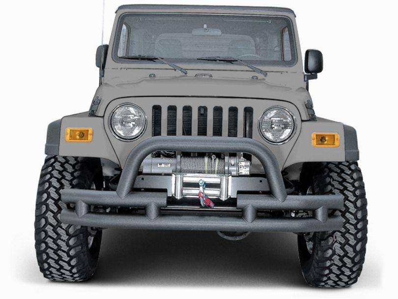 Rugged Ridge Tubular Front Bumper w/ Winch Cutout - Textured Black (87-06 Jeep Wrangler YJ & TJ)