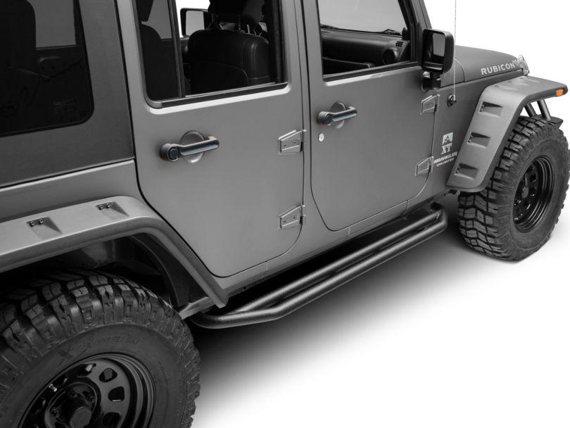 Rugged Ridge Side Armor Nerf Bars - Textured Black (07-18 Jeep Wrangler JK 4 Door)