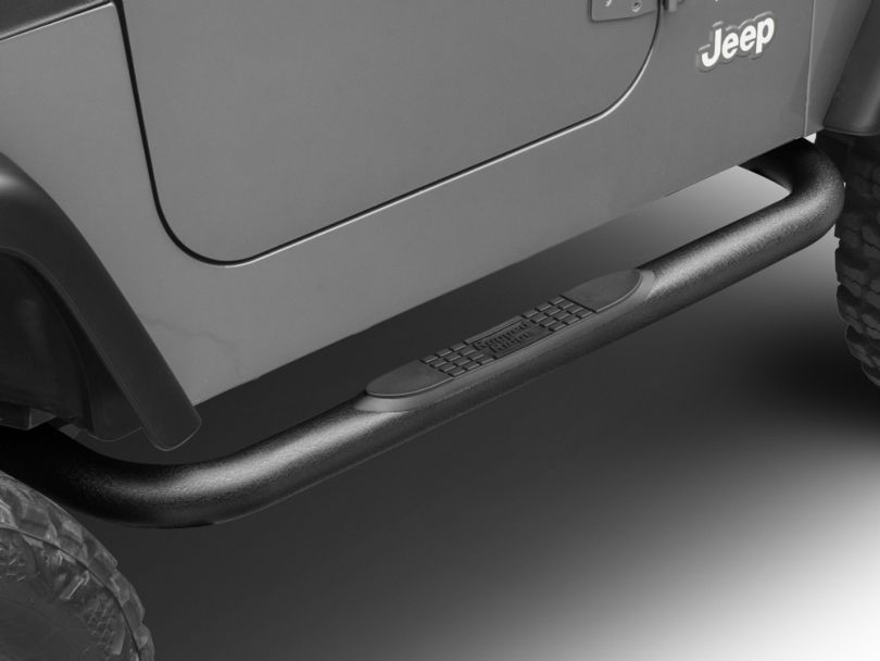 Rugged Ridge 3-Inch Round Nerf Side Step Bars - Textured Black (97-06 Jeep Wrangler TJ, Excluding Unlimited)