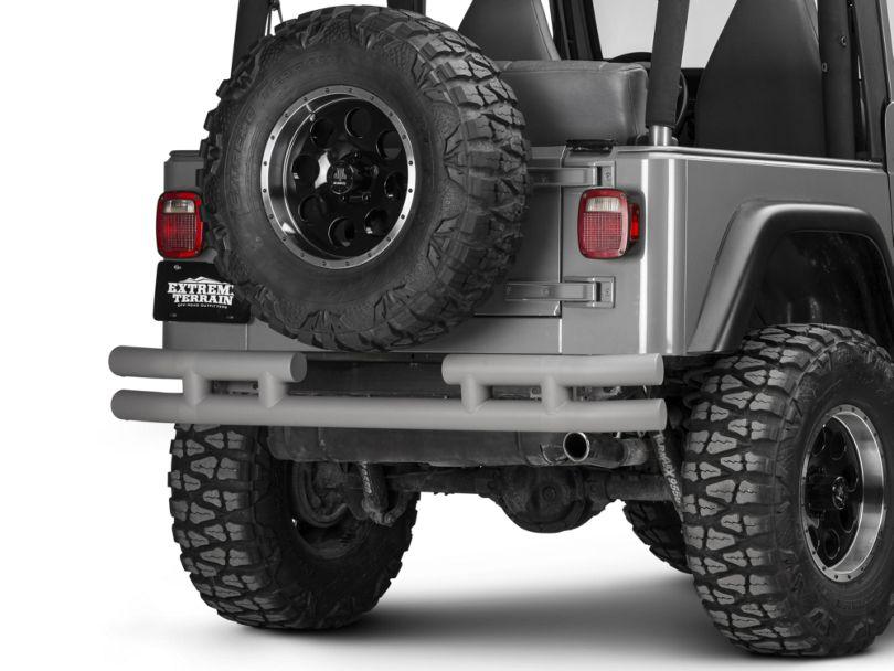 Rugged Ridge 3-Inch Double Tube Rear Bumper; Titanium (87-06 Jeep Wrangler YJ & TJ)