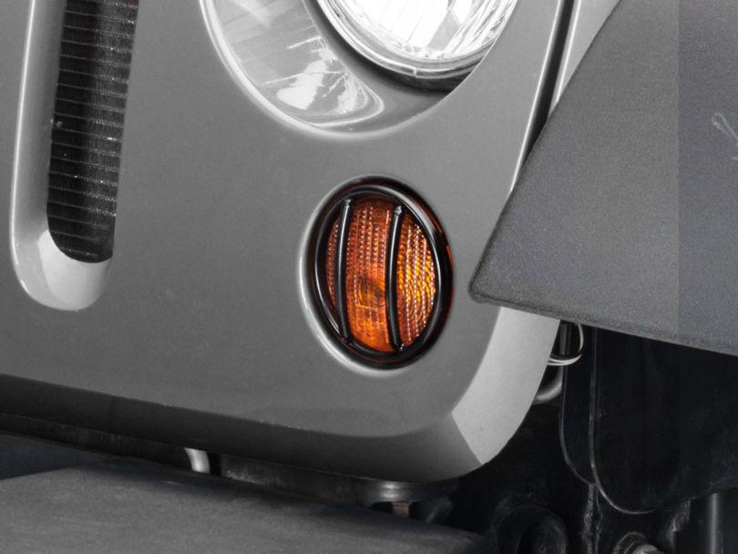 Rugged Ridge Euro Turn Signal Light Guards - Black (07-18 Jeep Wrangler JK)