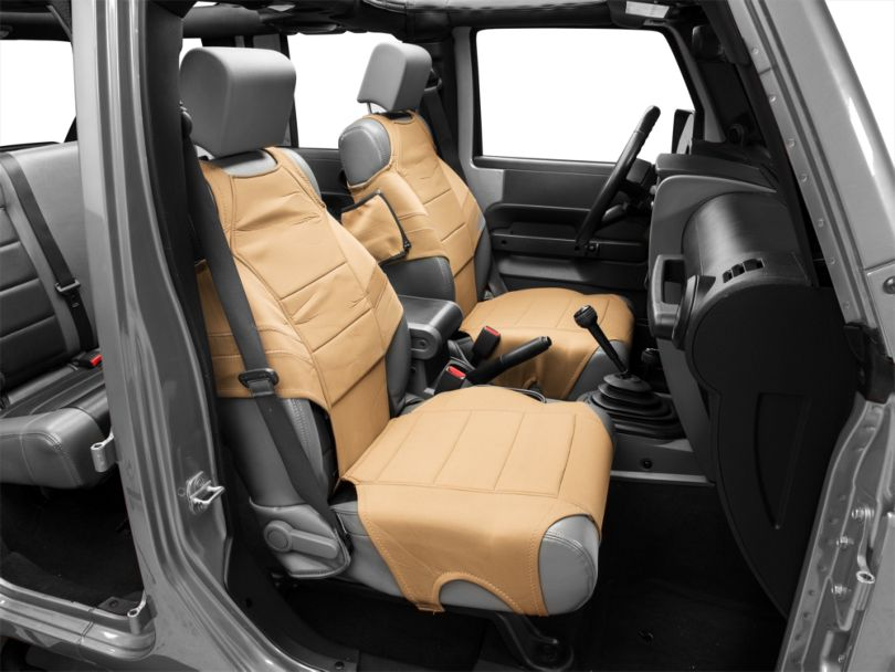 Rugged Ridge Neoprene Front Seat Protectors - Tan (07-18 Jeep Wrangler JK)