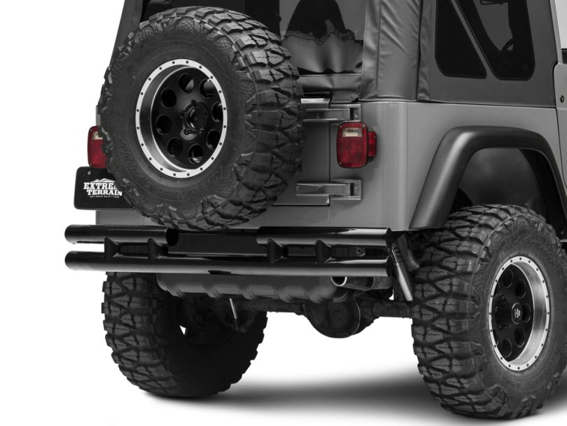 Rugged Ridge 3-Inch Double Tube Rear Bumper with Hitch - Black (87-06 Jeep Wrangler YJ & TJ)