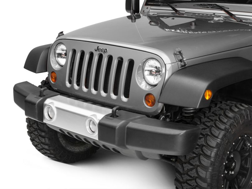 Rugged Ridge Front Bumper Applique; Silver (07-18 Jeep Wrangler JK)