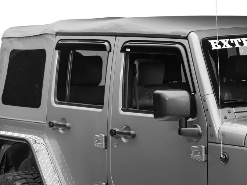 Rugged Ridge Window Rain Deflectors; Smoked (07-18 Jeep Wrangler JK 4 Door)