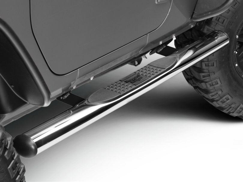 Rugged Ridge 4 in. Oval Nerf Bars - Stainless Steel (07-18 Jeep Wrangler JK 2 Door)