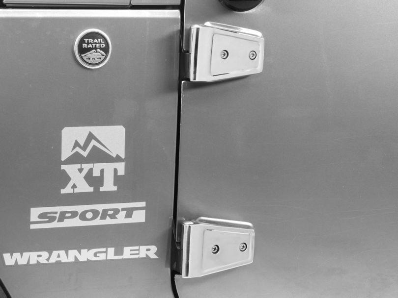 Rugged Ridge Stainless Steel Door Hinge Cover Set (07-18 Jeep Wrangler JK 2 Door)