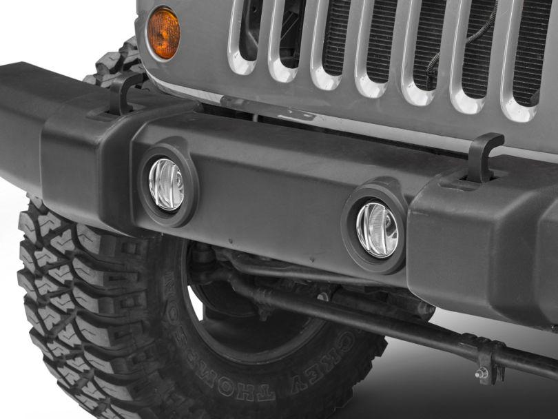 Rugged Ridge Euro Fog Light Guards; Stainless Steel (07-18 Jeep Wrangler JK)