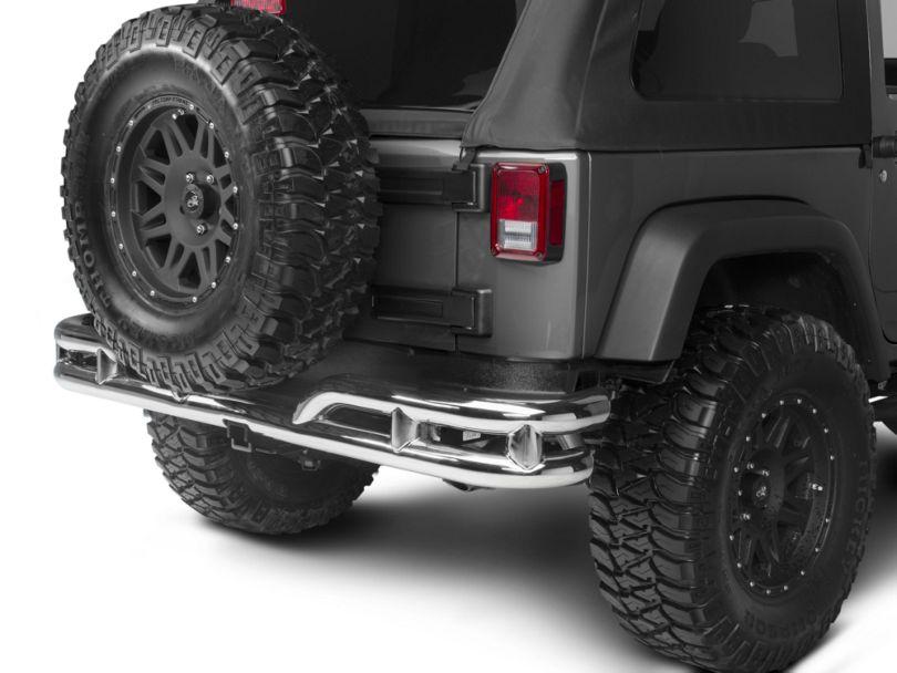 Rugged Ridge 3-Inch Double Tube Rear Bumper; Stainless Steel (07-18 Jeep Wrangler JK)