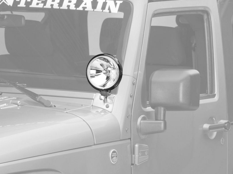 Rugged Ridge 6 in. Slim Round Halogen Fog Lights w/ Stainless Steel Windshield Mounting Brackets (07-18 Jeep Wrangler JK)