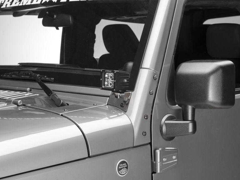 Rugged Ridge Windshield Light Mounting Brackets - Stainless Steel (07-18 Jeep Wrangler JK)
