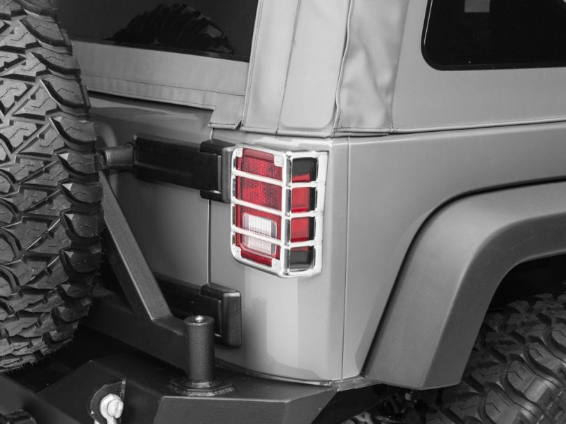 Rugged Ridge Euro Tail Light Guards; Stainless Steel (07-18 Jeep Wrangler JK)