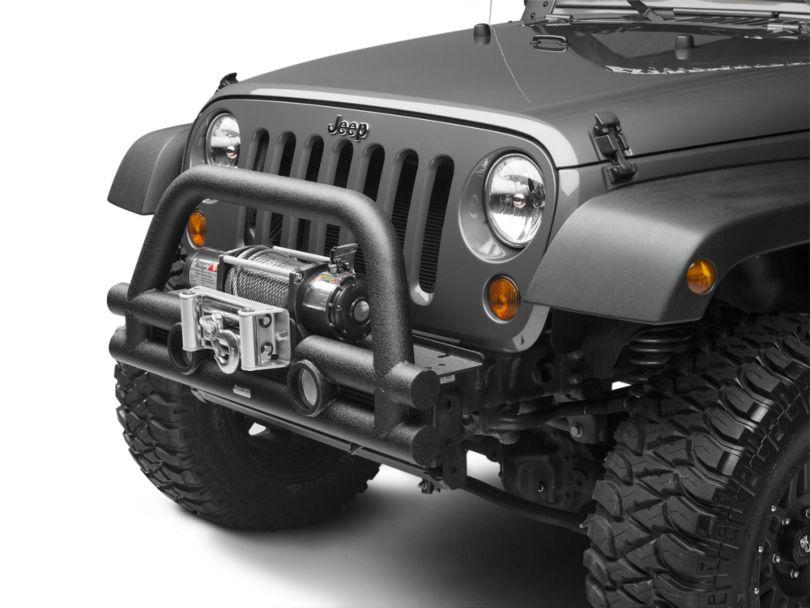Rugged Ridge Stubby Tube Front Bumper w/ Winch Plate - Textured Black (07-18 Jeep Wrangler JK)