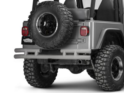 Add Rugged Ridge Tubular Rear Bumper w/ Hitch - Titanium (87-06 Wrangler YJ & TJ)