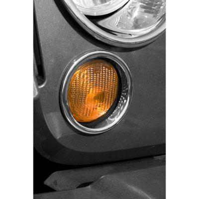 Add Rugged Ridge Turn Signal Lamp Covers - Chrome (07-17 Wrangler JK)
