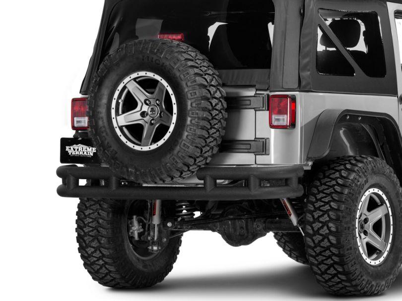 Smittybilt Tubular Rear Bumper w/ Hitch - Textured Black (07-18 Jeep Wrangler JK)