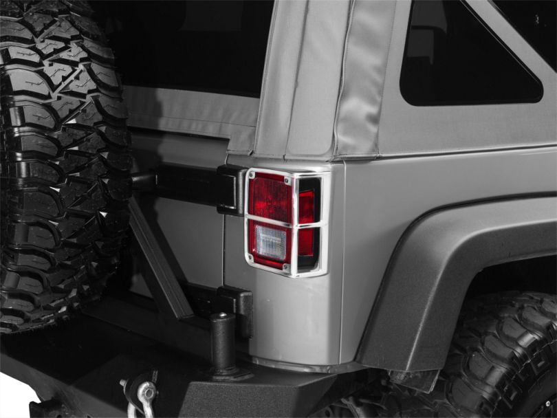 Smittybilt Euro Tail Light Guards - Stainless Steel (07-18 Jeep Wrangler JK)