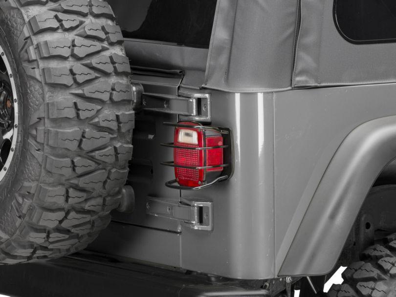 Smittybilt Euro Tail Light Guards - Black (87-06 Jeep Wrangler YJ & TJ)
