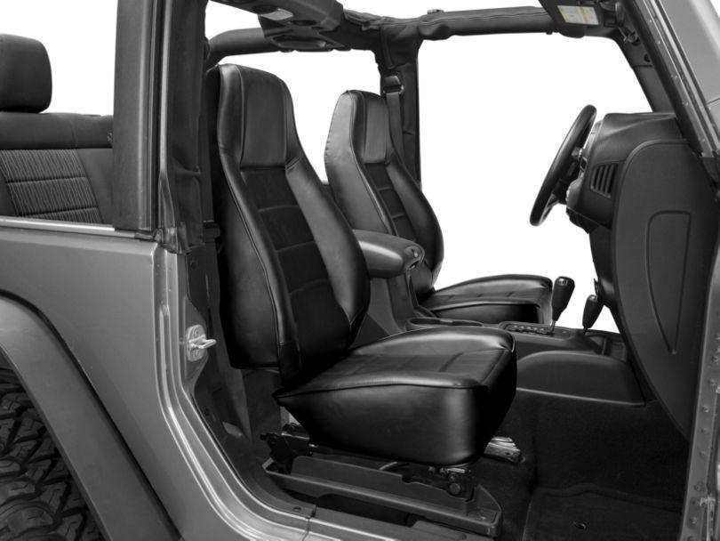 Smittybilt Seat - Front - Factory Style Replacement w/ Recliner - Vinyl Black (87-20 Jeep Wrangler YJ, TJ, JK & JL)